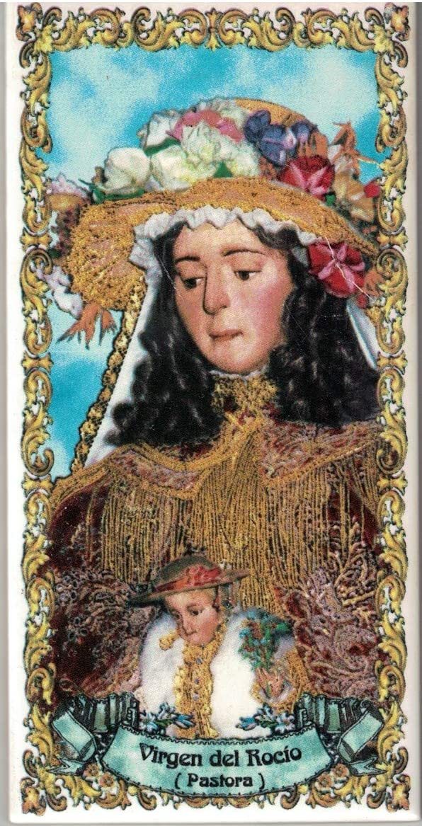 Pastora Virgen del Roc/ío 7x15 cms Azulejo fabricado artesanalmente para decorar Cer/ámica para colgar Calca cer/ámica