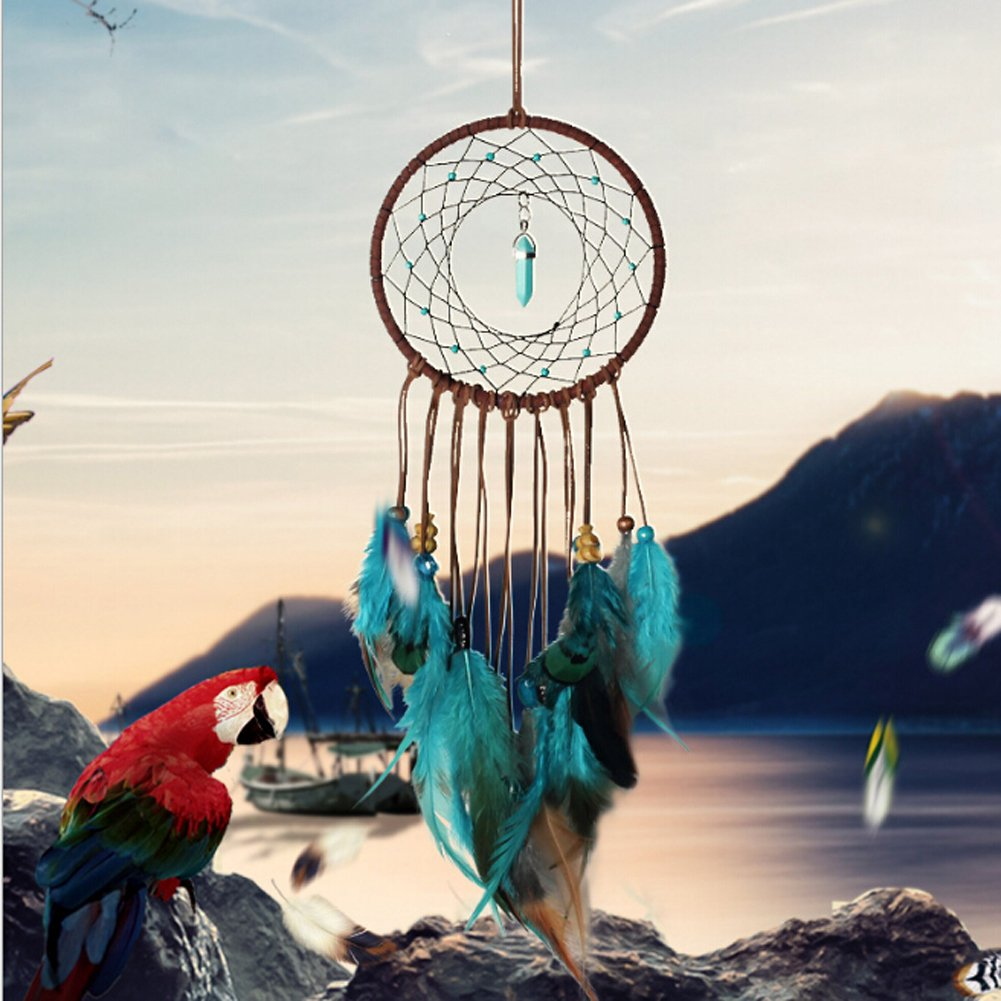 MEXIDAWN 2 pcs Turquoise Dream Catcher - DIY Dream Catcher Kits for Adults Kids - Wall Hanging Boho Home Decoration - 2 Pack(1 completed & 1 Kits) with Instructions