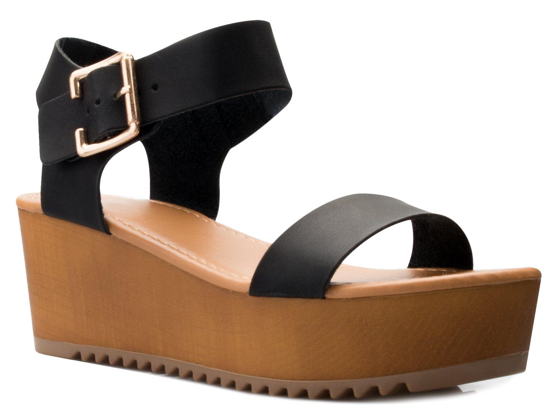 OLIVIA K Women's Platform Buckle Sandal - Open Peep Toe Fashion Chunky Ankle Strap Shoe,Black Pu,8.5 B(M) US