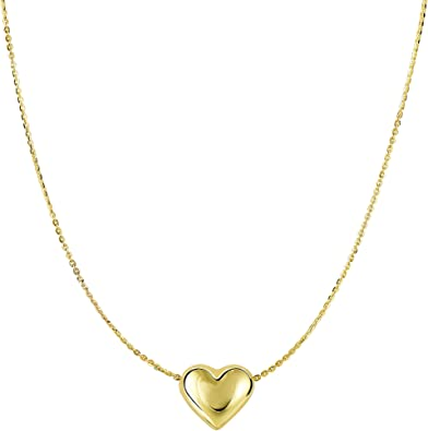 14k Yellow Gold Tiny Puffed Heart Pendant Necklace with Cable Chain
