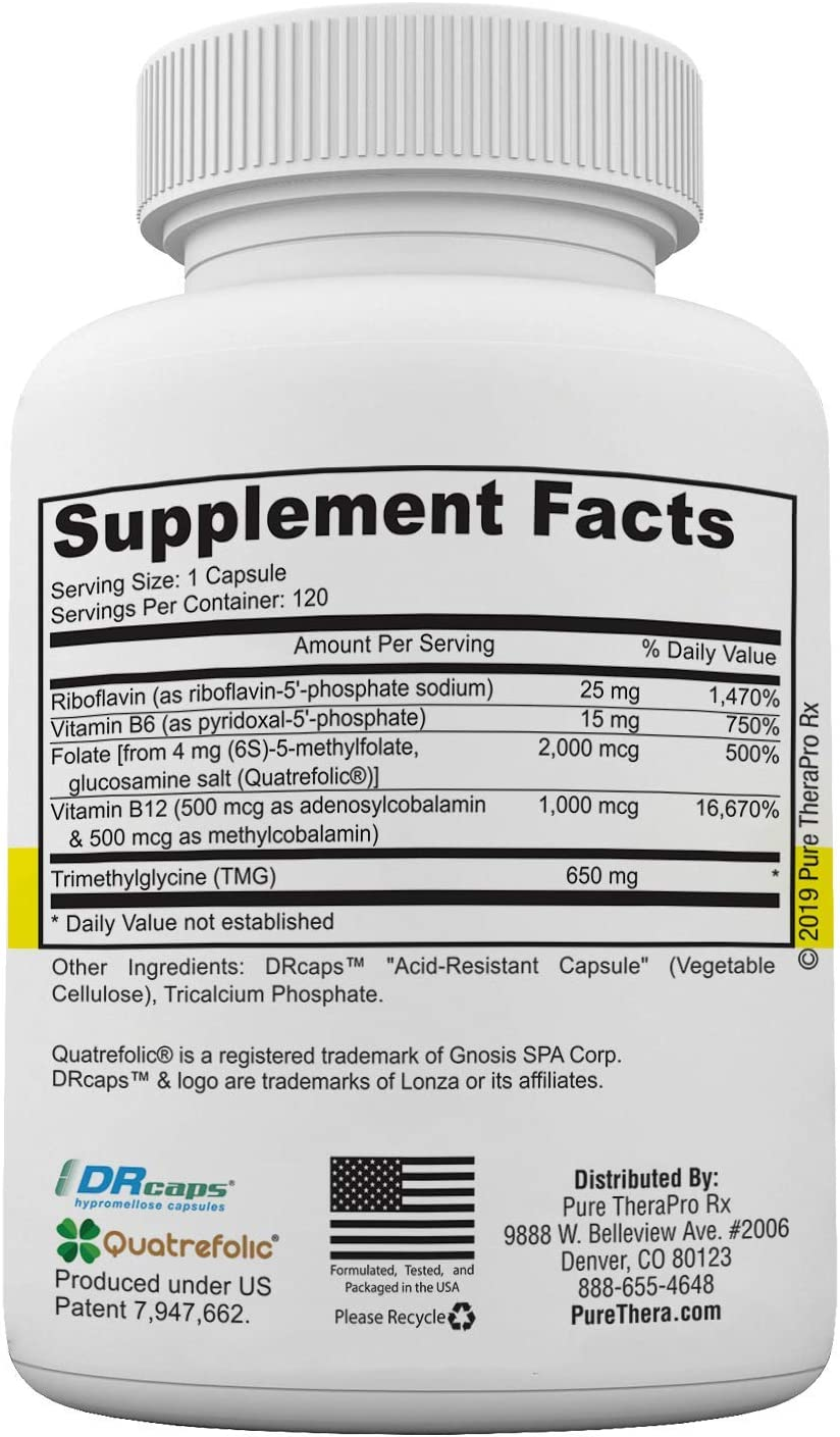 Methyl B Complete – 120 Vegetable Capsules Optimal Methylation Support Supplement with Quatrefolic 5-MTHF Active folate , Methylcobalamin Active B12 , B2, B6, and TMG Pharmaceutical Grade