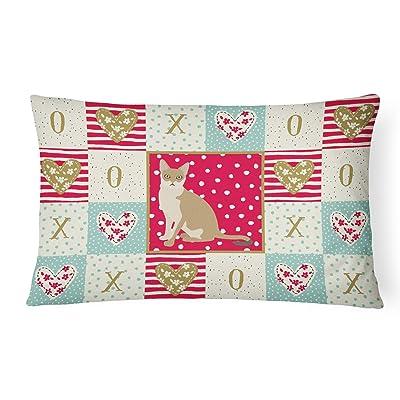 Caroline's Treasures CK5789PW1216 Singapura Cat Love Canvas Fabric Decorative Pillow, 12H x16W, Multicolor : Garden & Outdoor