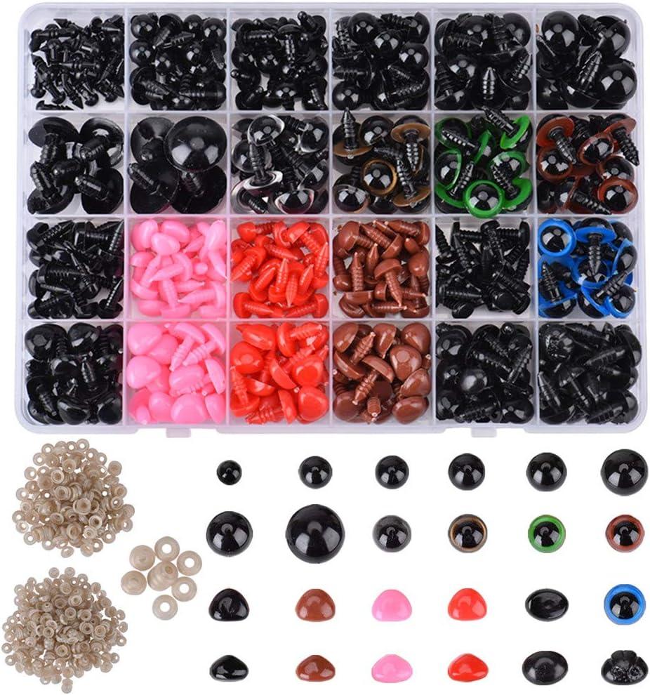 Queta Ojos de Plástico de Animales, 838 Ojos de Seguridad para Manualidades y Narices Multicolores, Accesorios para Manualidades de Bricolaje para Muñecas, Muñecos de Peluche y Títeres