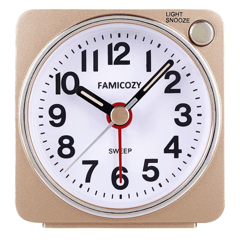 Small Lightweight Travel Alarm Clock,FAMICOZY Silent Non Ticking Analog Alarm Clock with Snooze and Light,Sound Crescendo,Mini Quartz Alarm Clock,Battery Operated(Gold)