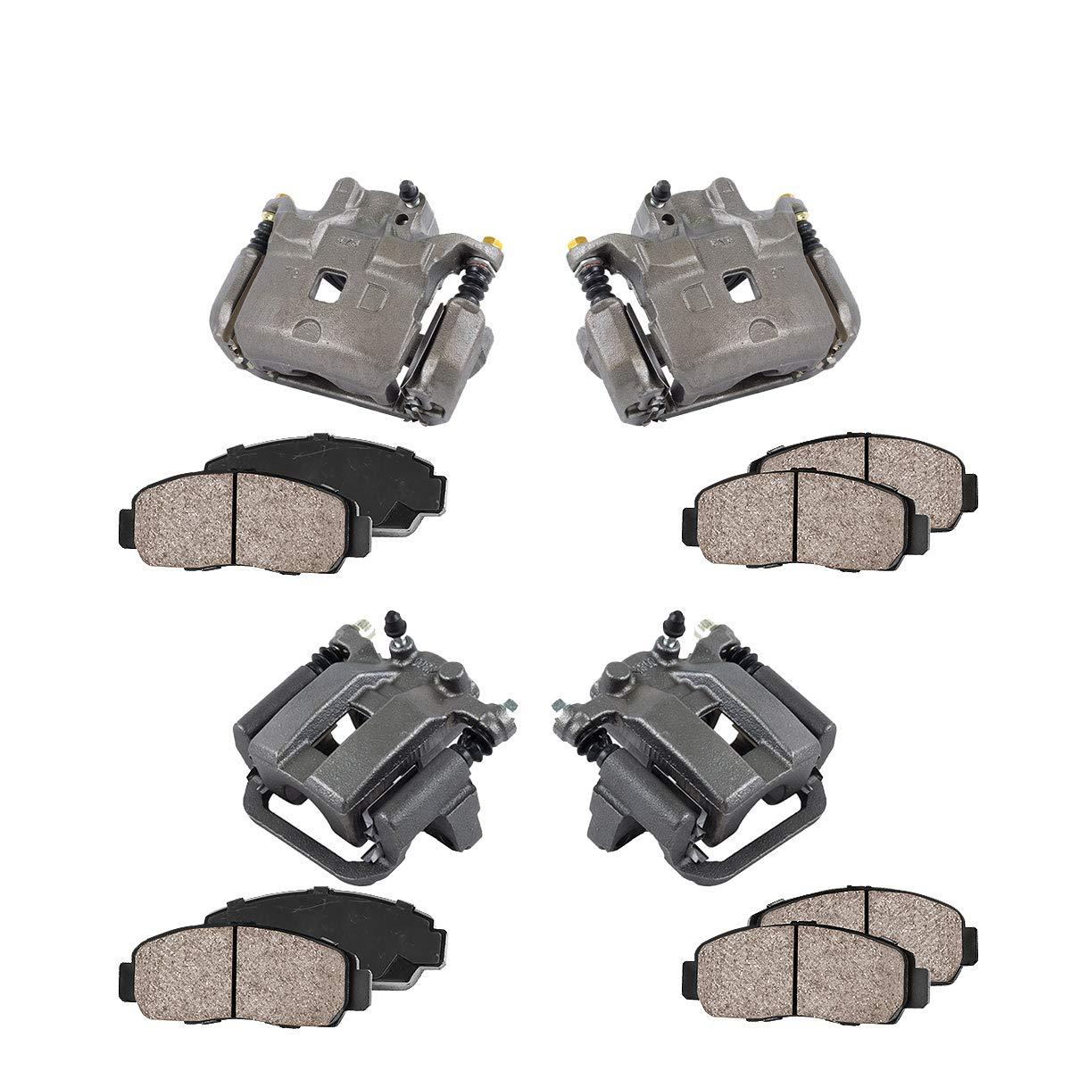 4 Ceramic Brake Pads Kit REAR FRONT Premium Grade Semi-Loaded OE Caliper