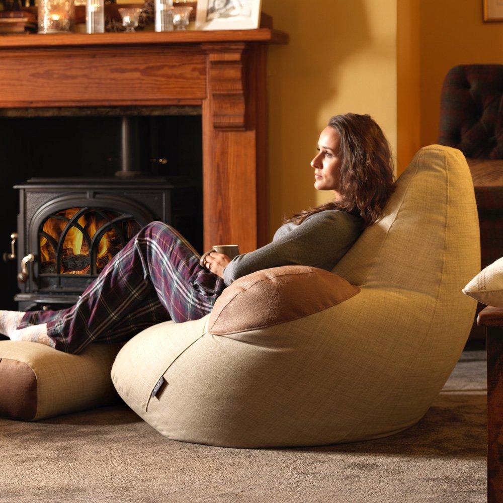Icon Shetland géant Fauteuil pouf géant – inclinable Sacs de haricots – tissé de luxe Pouf