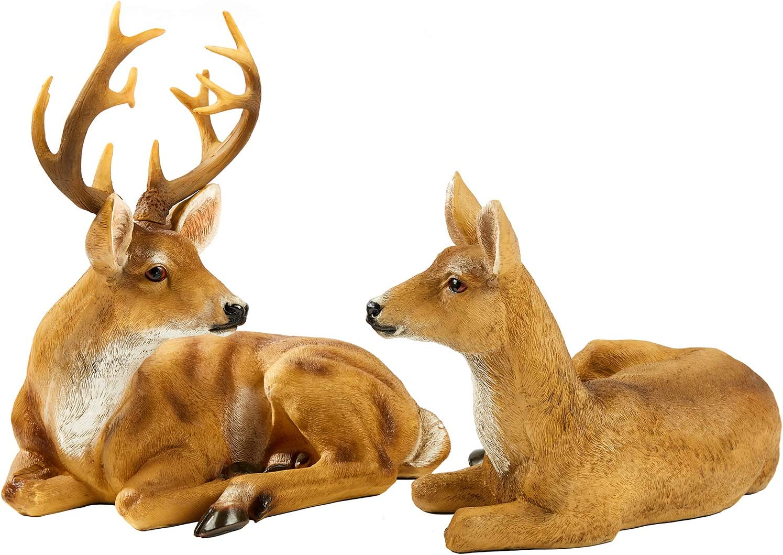 JHVYF Adorable Deer Statue Decor for Garden Yard Buck & Doe Lying Outdoor Sculptures for Home Decor 312+313