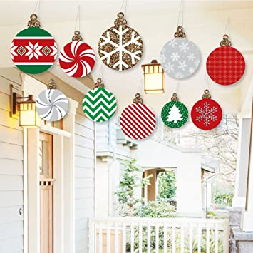 hanging ornaments outdoor holiday and christmas hanging porch tree yard decorations 10 pieces - Outdoor Christmas Wall Decorations