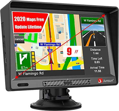 Car GPS, 9 inch GPS Navigation for Car with Sunshade HD Touch Screen 8GB 256MB Sat Nav for Cars with USA, Canada, Mexico Lifetime Map Free Update