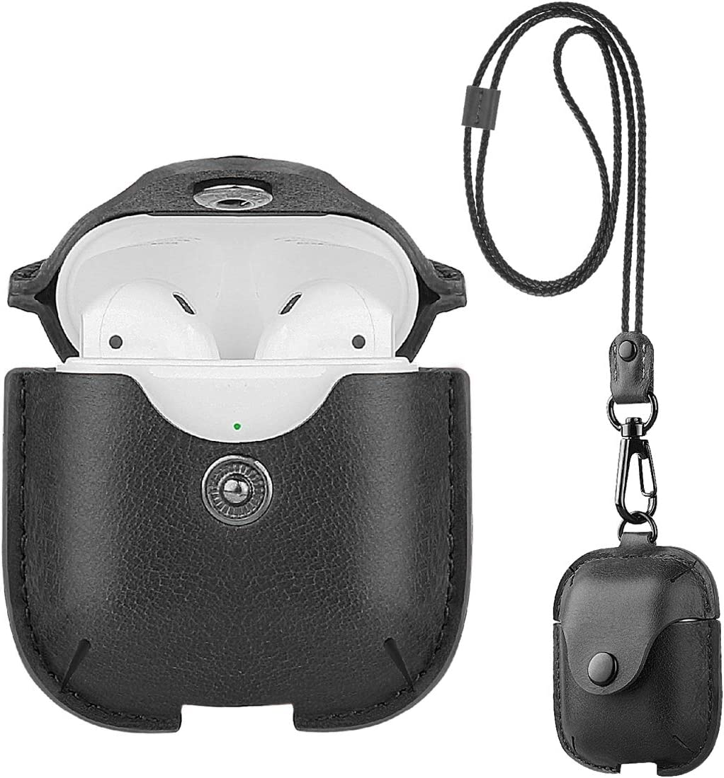 Black UTOPER AirPods Leather Case with Neck Lanyard /& Buckle for Apple Airpods 2 /& 1 Portable Leather Cover Case for New AirPods Protective Shockproof Support Wireless Charging