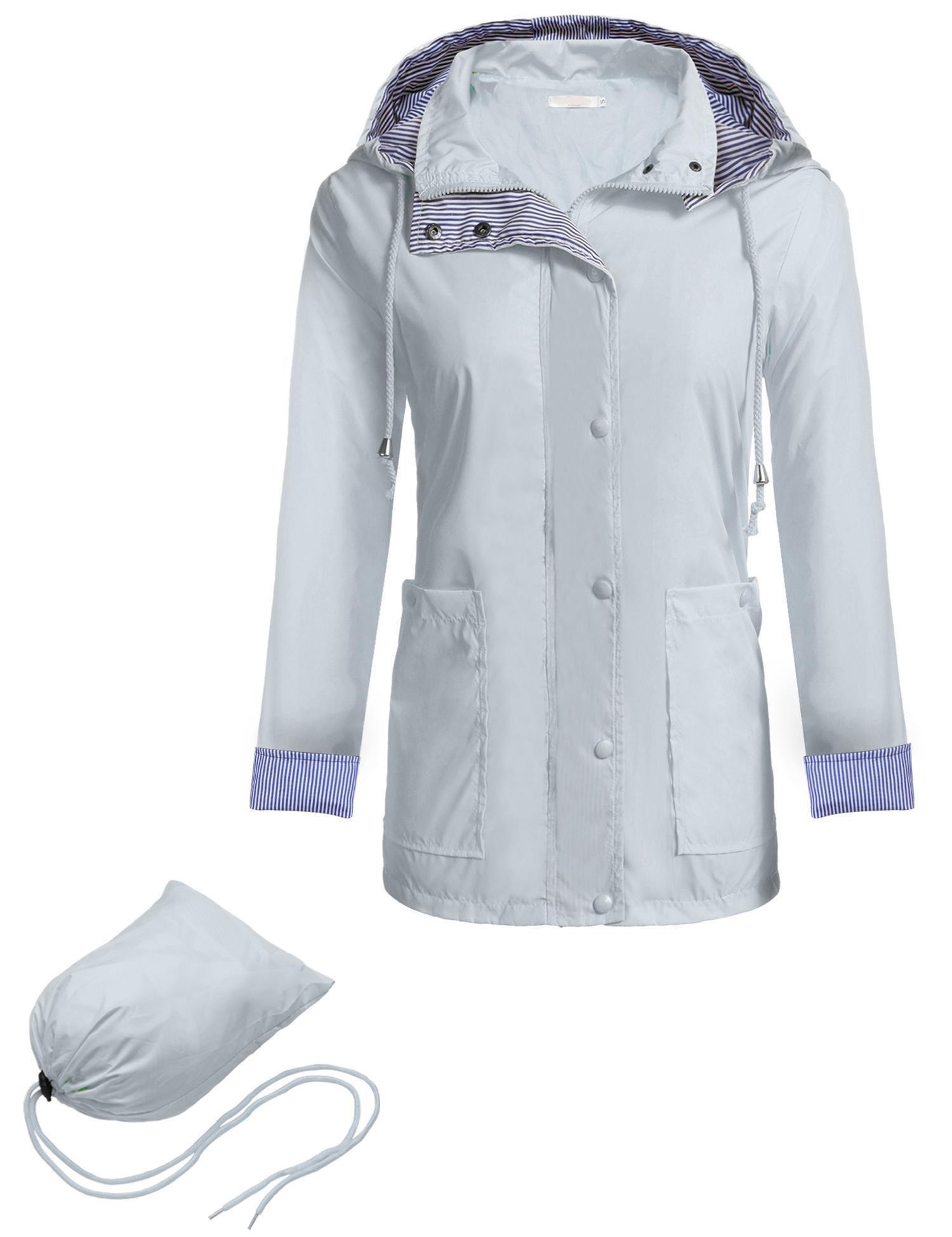 Zeagoo Women Hooded Waterproof Jacket Softshell Packable Sportswear,Style 1 Light Gray,Large