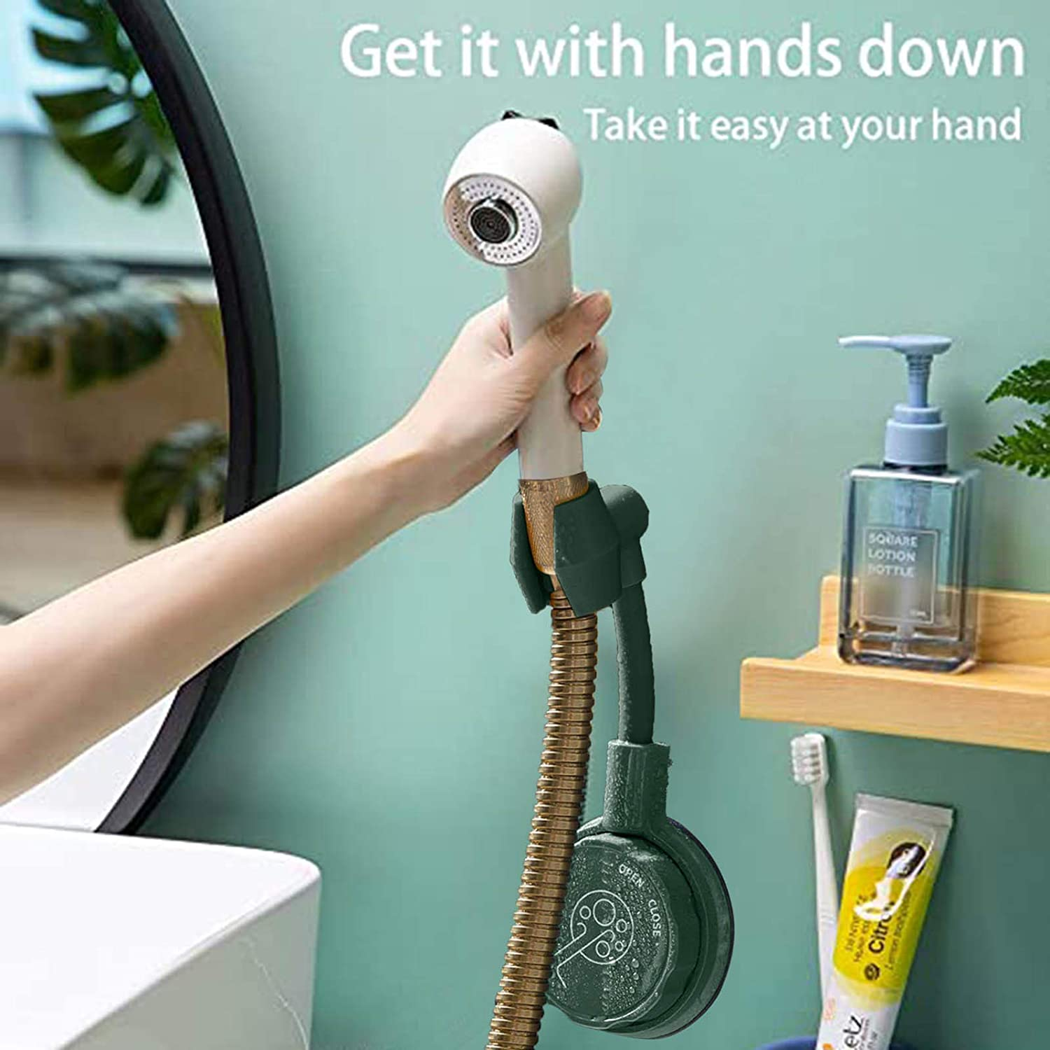 Green+Yellow// 2PCS Shower Head Holder Flexible Wall Mounted Showerhead Holders Universal 360/° Adjustable Rotatable Shower Bracket No-Punching Strong Adhesive Shower Rack for Bathroom