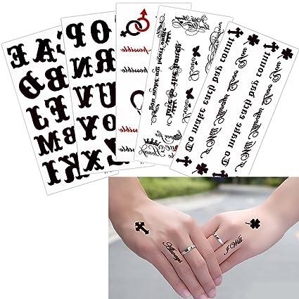 5 hojas carta adhesivo temporal cuerpo dedo muñeca arte para las ...