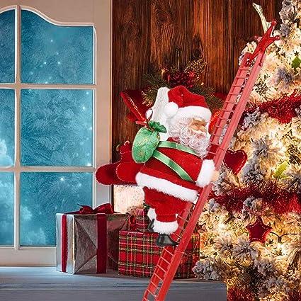 YTFU Muñeco de Escalera de Escalada de Papá Noel de Navidad ...