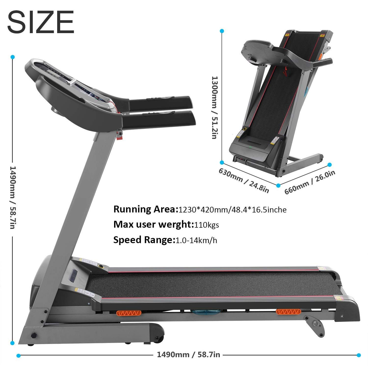 Miageek Fitness Folding Electric Jogging Treadmill with Smartphone APP Control, Walking Running Exercise Machine Incline Trainer Equipment Easy Assembly by Miageek (Image #5)