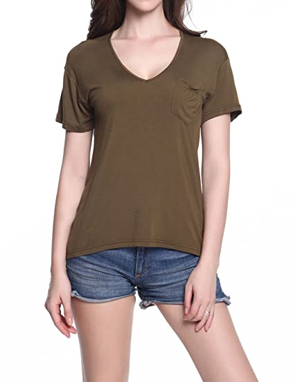Kims Women Tops Pocket Tee Deep V Neck T Shirt Summer Casual Blank Tunic