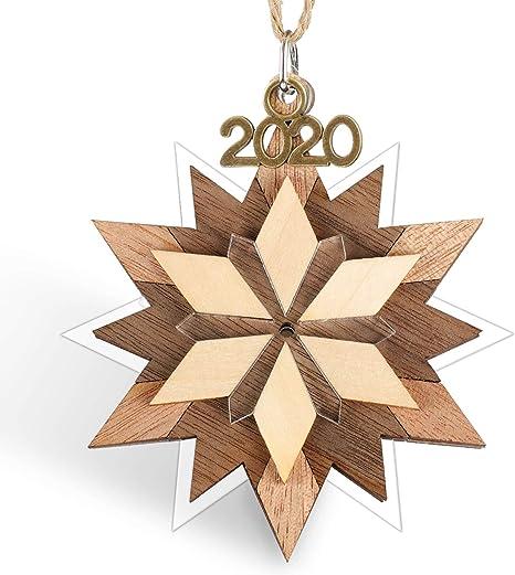 Amazon Com Creawoo Snowflake Keepsake Christmas Ornament 2020 Year Dated Decorative Hanging Pendant 3 5 Holiday Handmade Artwork Wood And Acrylic Home Kitchen