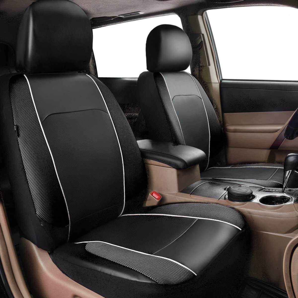 HORSE KINGDOM Universal Car Seat Covers Faux Leather With Air-mesh Orange For Women,Girls,Cars Trucks,Suvs,Sedans Breathable Airbag Compatible Black with Beige