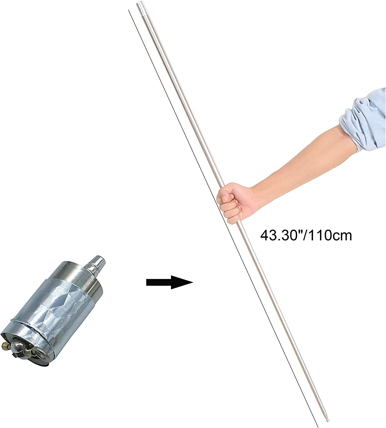 "Kingmagic Metal Appearing Cane Magic Wand for Professional Magician Use Only for Adult Stage Magic Trick Magic Gimmick Illusion Silk to Wand With Video Tutorial (Silver,43.30""/110cm)"