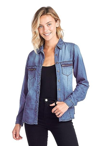 9372de35971 Blue Age Womens Chambray Denim Shirt Blouse Denim Tops at Amazon ...