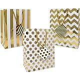 12 Gift Boutique Medium Metallic Gold Gift Bags; Polka Dots, Stripes & Chevron Exquisite Designs; Birthday, Graduation, Baby Shower, Wedding Gift Bags