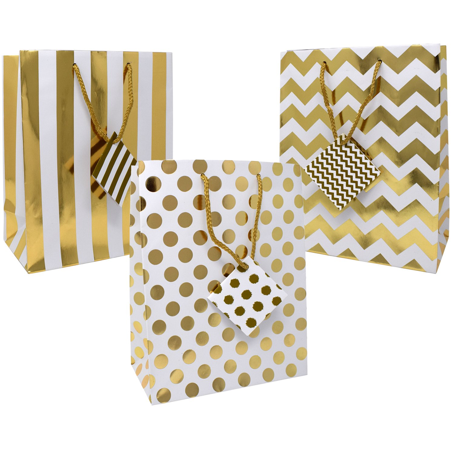 42f583f3689aa 12 Large Metallic Gold and White Gift Bags for Women Baby Shower Birthday  Wedding Graduation for Men Kids Girls Adults Boys