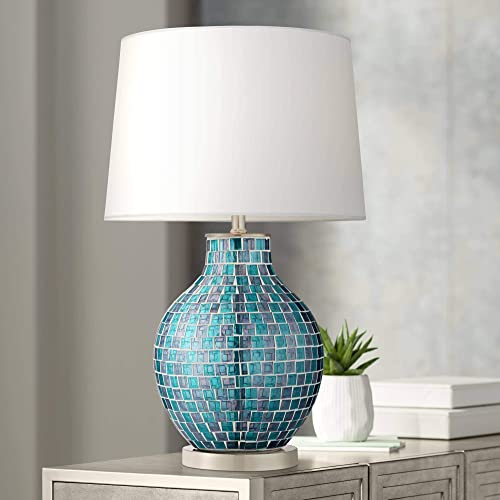 Modern Table Lamp Mosaic Teal Tiles Glass Jar Shaped White Drum Shade