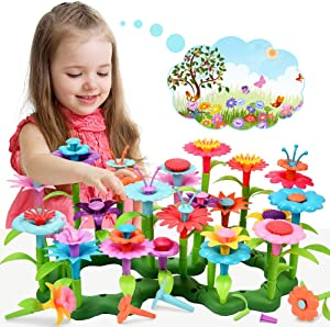 LET'S GO! Stacking Game for Toddlers Girls STEM Toys for Girl Age 3-8,Flower Garden Building Toys for 4-7 Year Old Girl Stocking Stuffer Gifts for 4-8 Year Old Girl Xmas Gifts for Kids Age 3-8 -52PCS