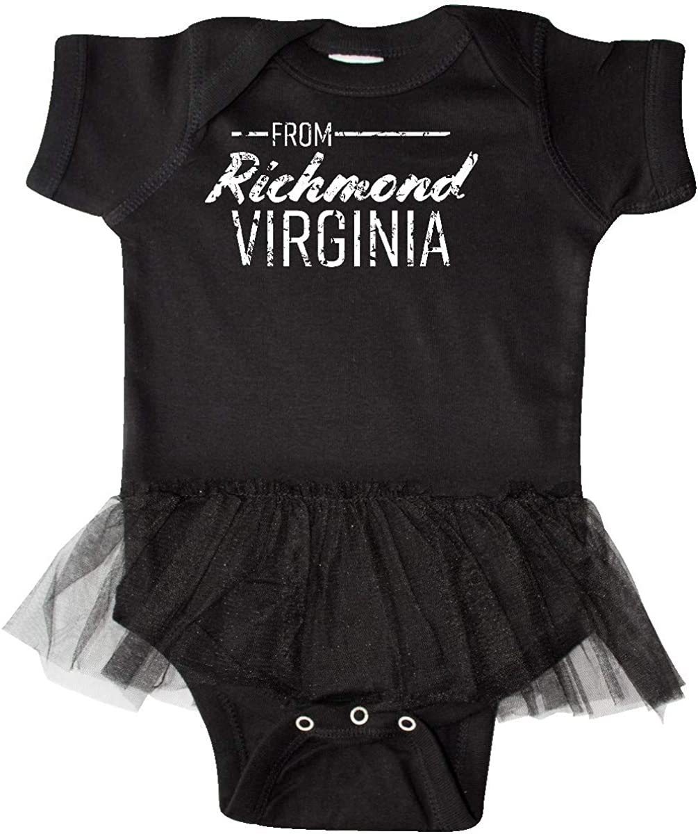 inktastic from Richmond Virginia in White Distressed Text Infant Tutu Bodysuit