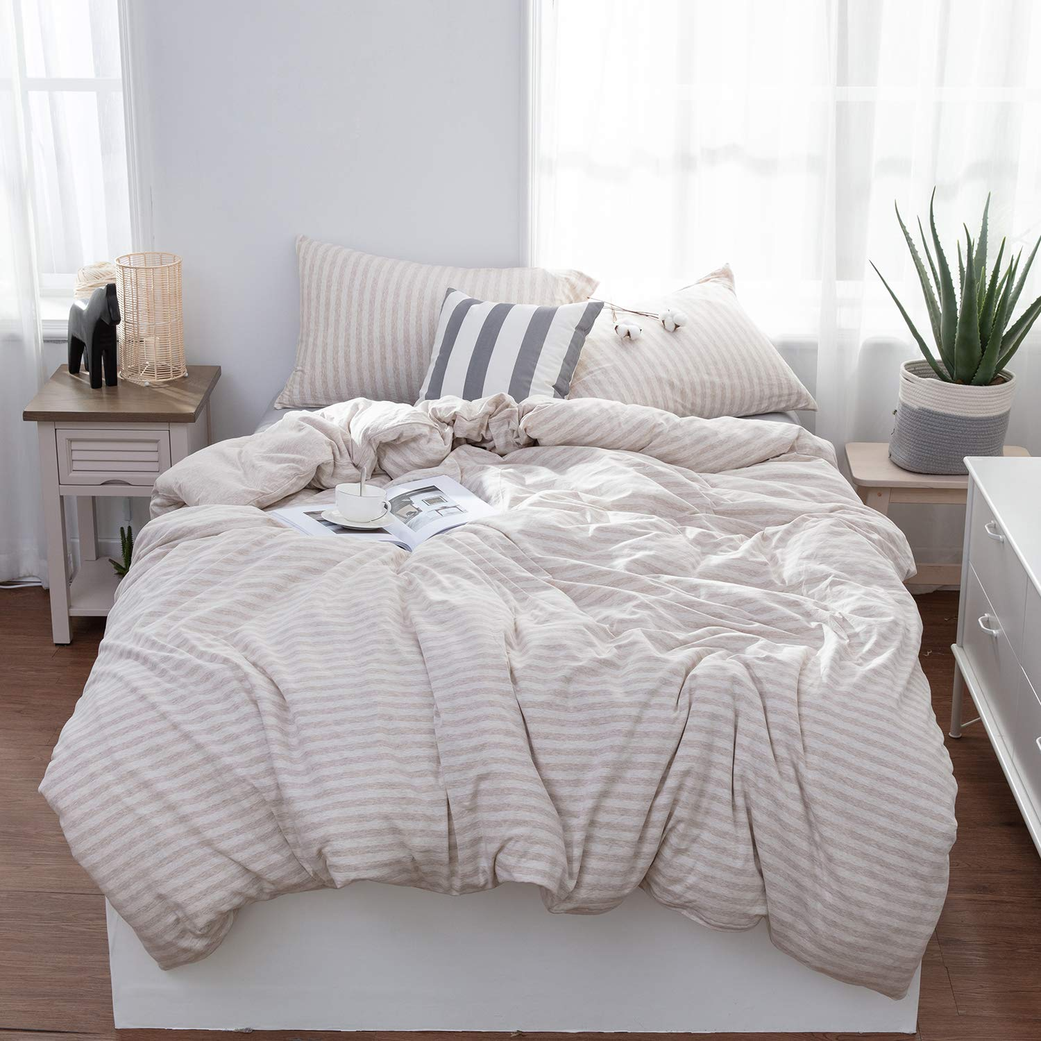 LIFETOWN Jersey Knit Cotton Striped Duvet Cover Queen Full Size Reversible Duvet Cover Set 3 Pieces, Extremely Soft (Full/Queen, Light Coffee)