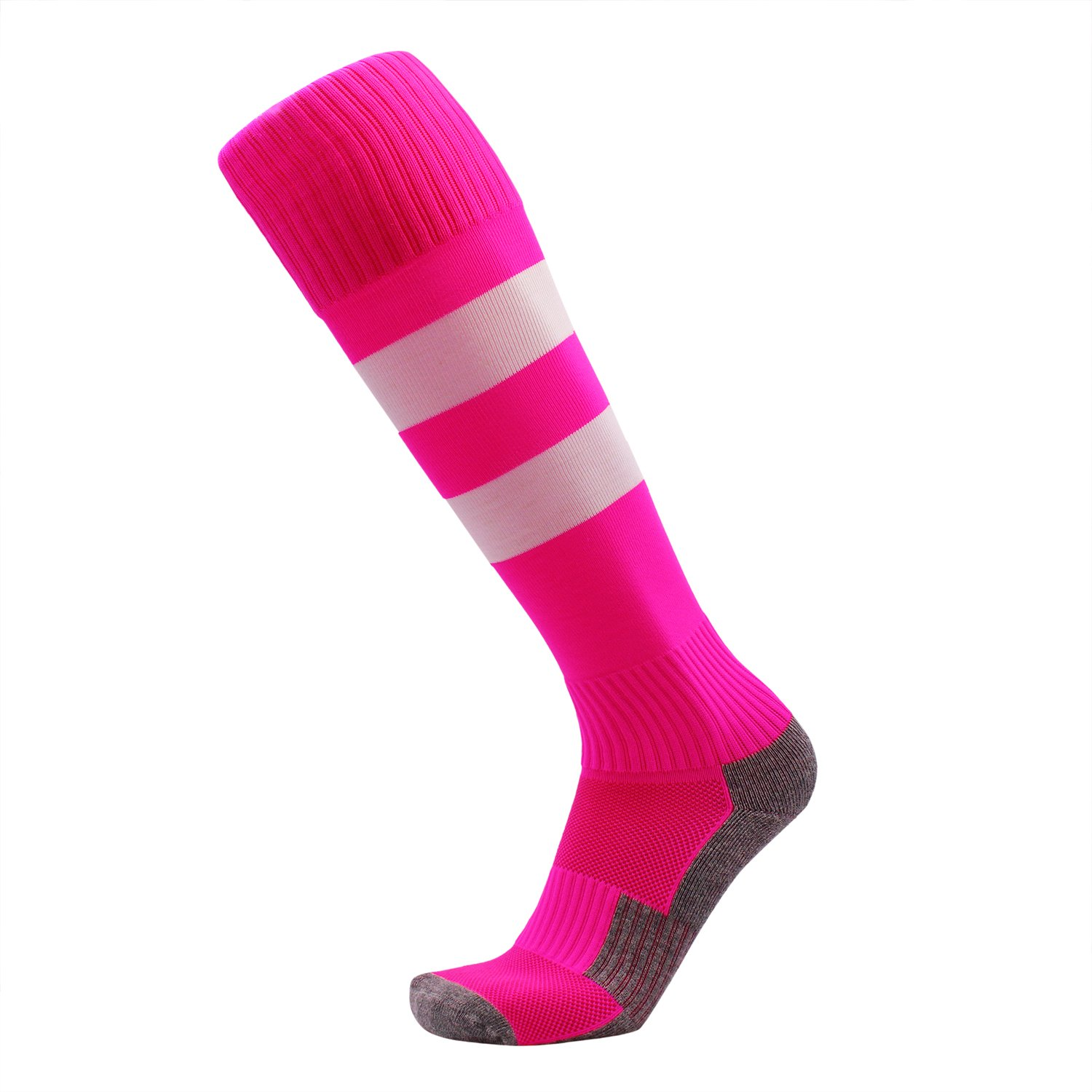 KALAKIDS Girls Soccer Socks 1 Pack Long Tube Cushioned Sports Socks Pink Stripe XS by KALAKIDS