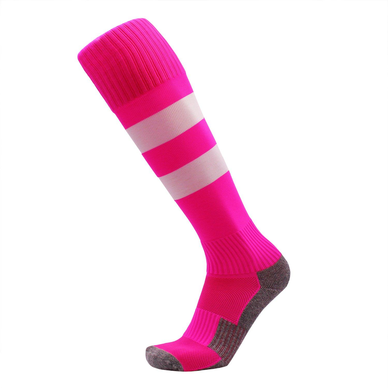 KALAKIDS Girls Soccer Socks 1 Pack Long Tube Pink Cushioned Football Sports Socks