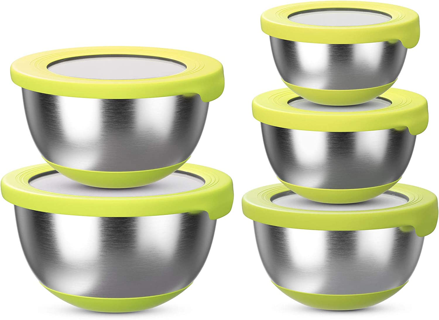 Stainless Steel Mixing Bowls with Lids (Set of 5) – Kitchen Nesting Bowl for Serving, Salad, Marinating, Dough, Baking & Food Storage – Colorful Nonslip Bottoms – Stackable & Space Saving, Yellow…