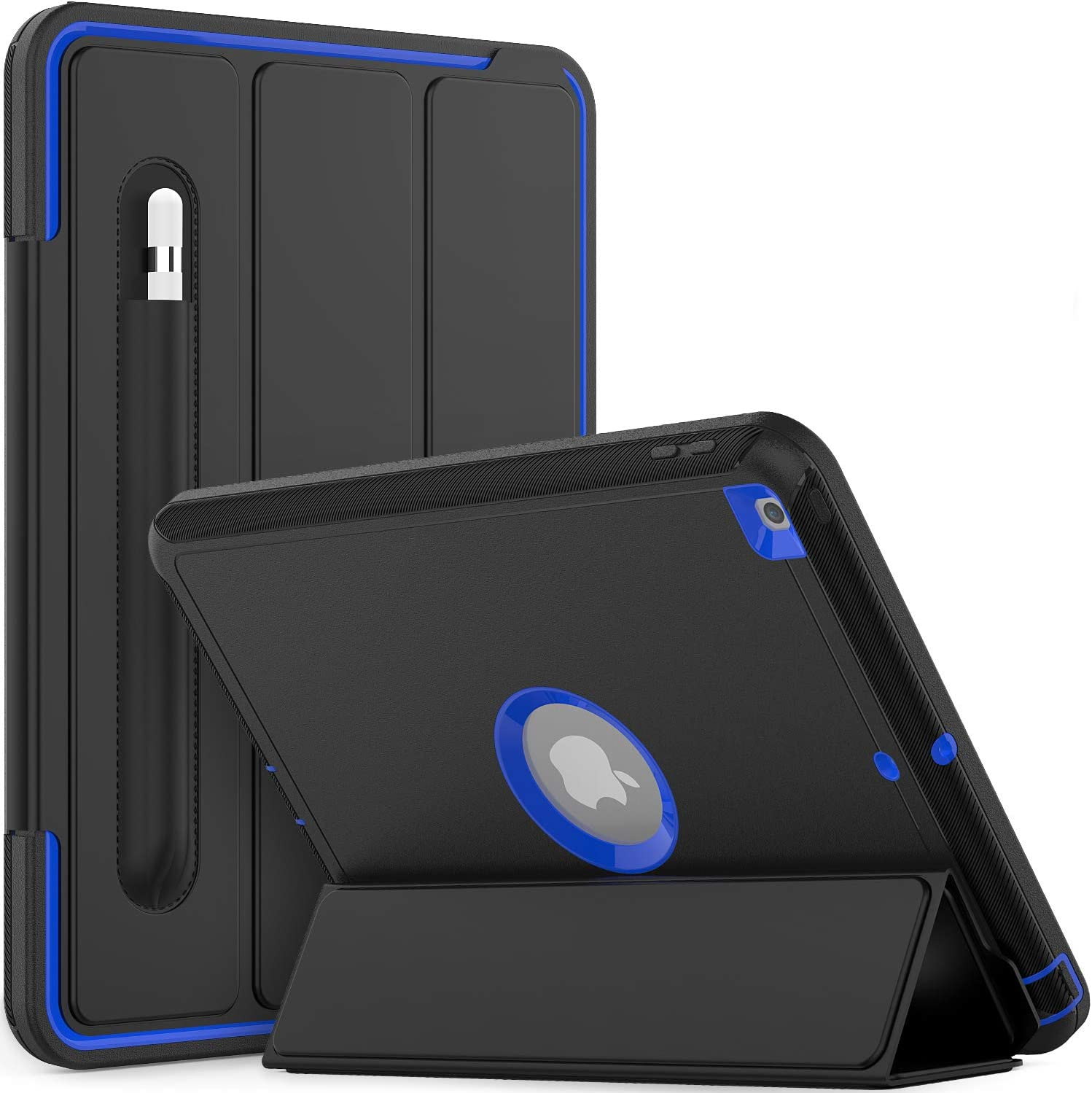 Timecity iPad 8th/ 7th Generation Case, iPad 10.2 Smart Cover with Stand Pencil Holder, Auto Wake/Sleep Smart Case for iPad 8th/ 7th Gen, Durable Cover for iPad 10.2 Inch 2020/2019, Black/Dark Blue
