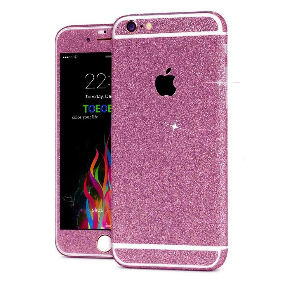 For iPhone 7 Plus 5.5, Gold Kasstino Bling Glitter Crystal Full Body Wrap Decal Film Sticker Skin For iPhone 6 6S 7 8 Plus
