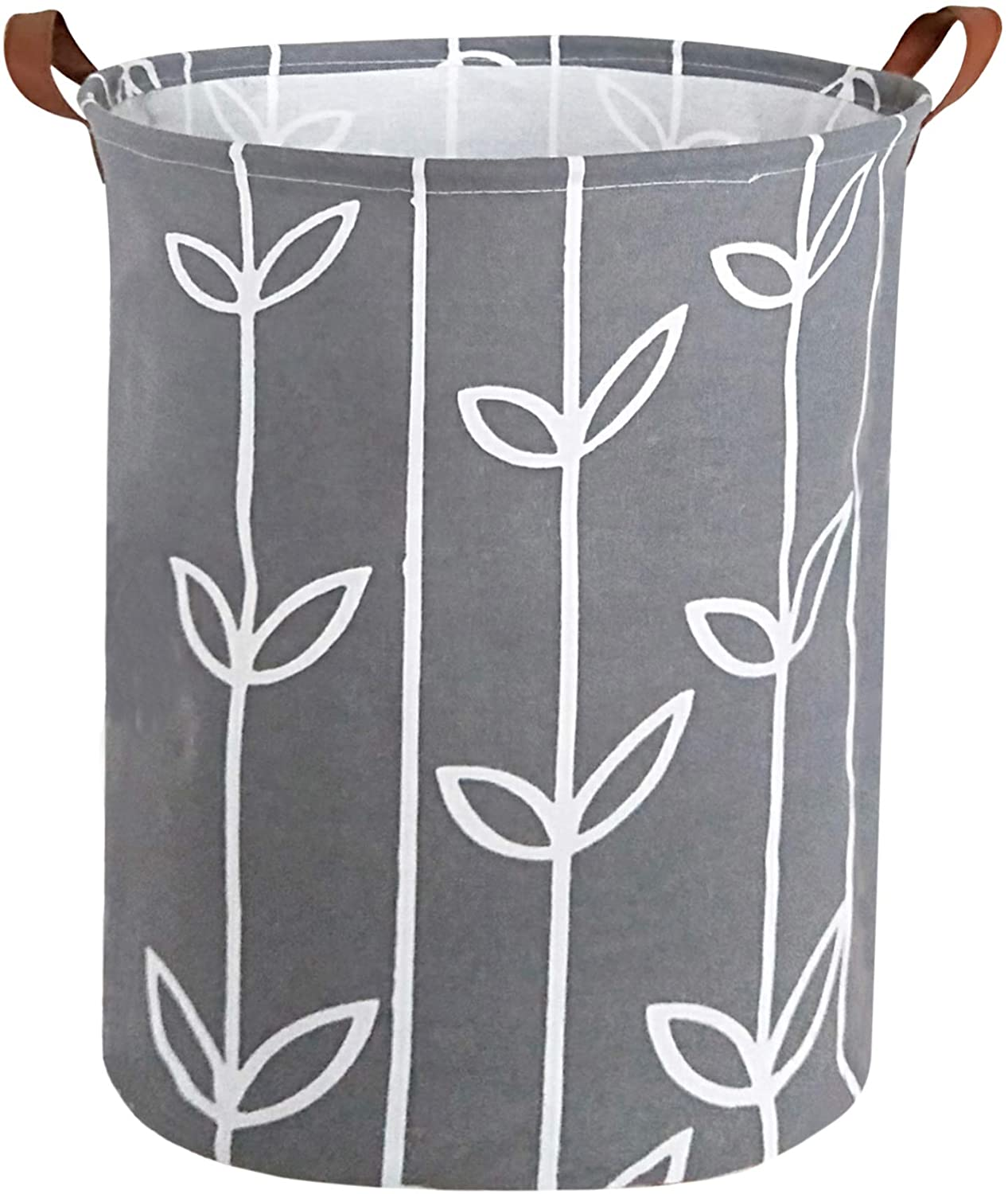 HIYAGON Large Storage Baskets,Waterproof Laundry Baskets,Collapsible Canvas Basket for Storage Bin for Kids Room,Toy Organizer,Home Decor,Baby Hamper (Grey Leaves)