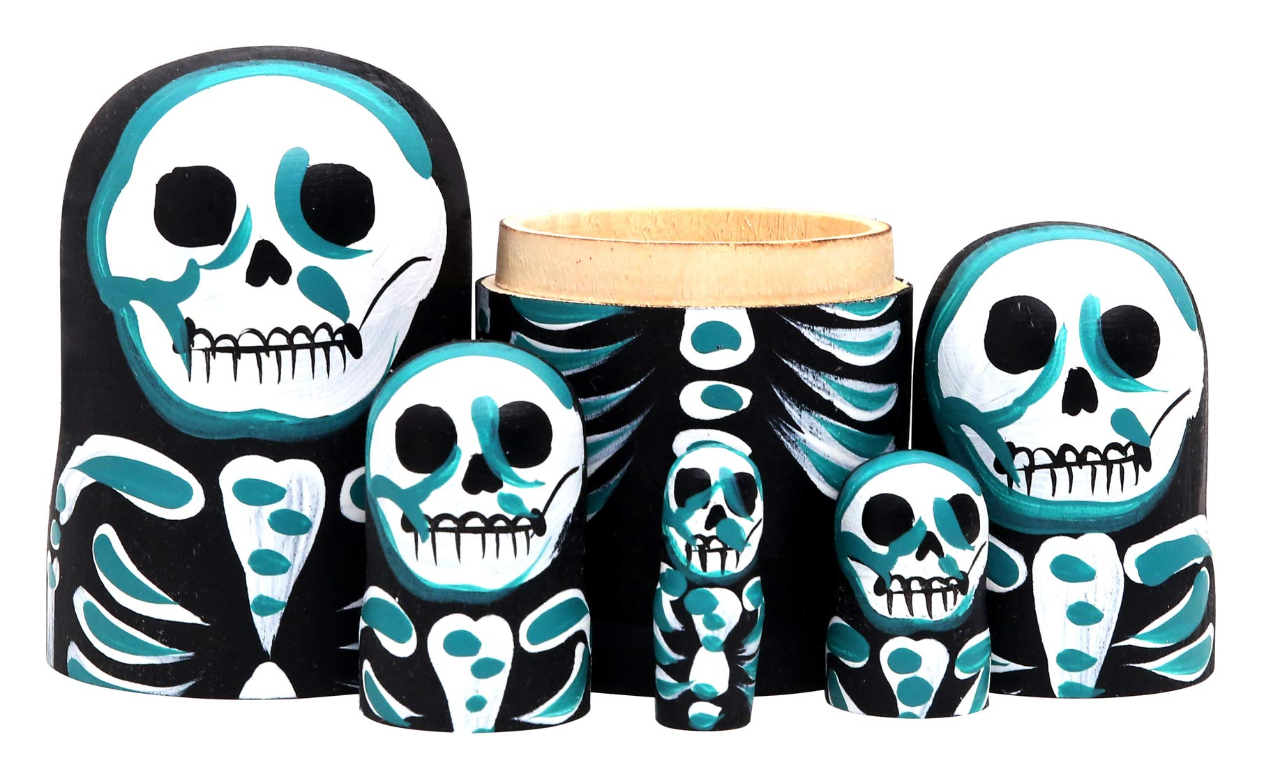 Debbieicy 5Pcs Beautiful Handmade Wooden Russian Nesting Dolls Skull Matryoshka dolls Gift for Halloween and Birthday - Stacking Doll Set of 5 From 6.3'' Tall by Debbieicy (Image #4)