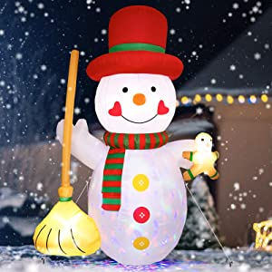 8FT Christmas Inflatable Snowman with Gingerbread Man and Broom - Cute Fun Holiday Blow up Party Decorations for Indoor Outdoor Yard Lawn Garden Photo Prop with LED Color Changing Lights