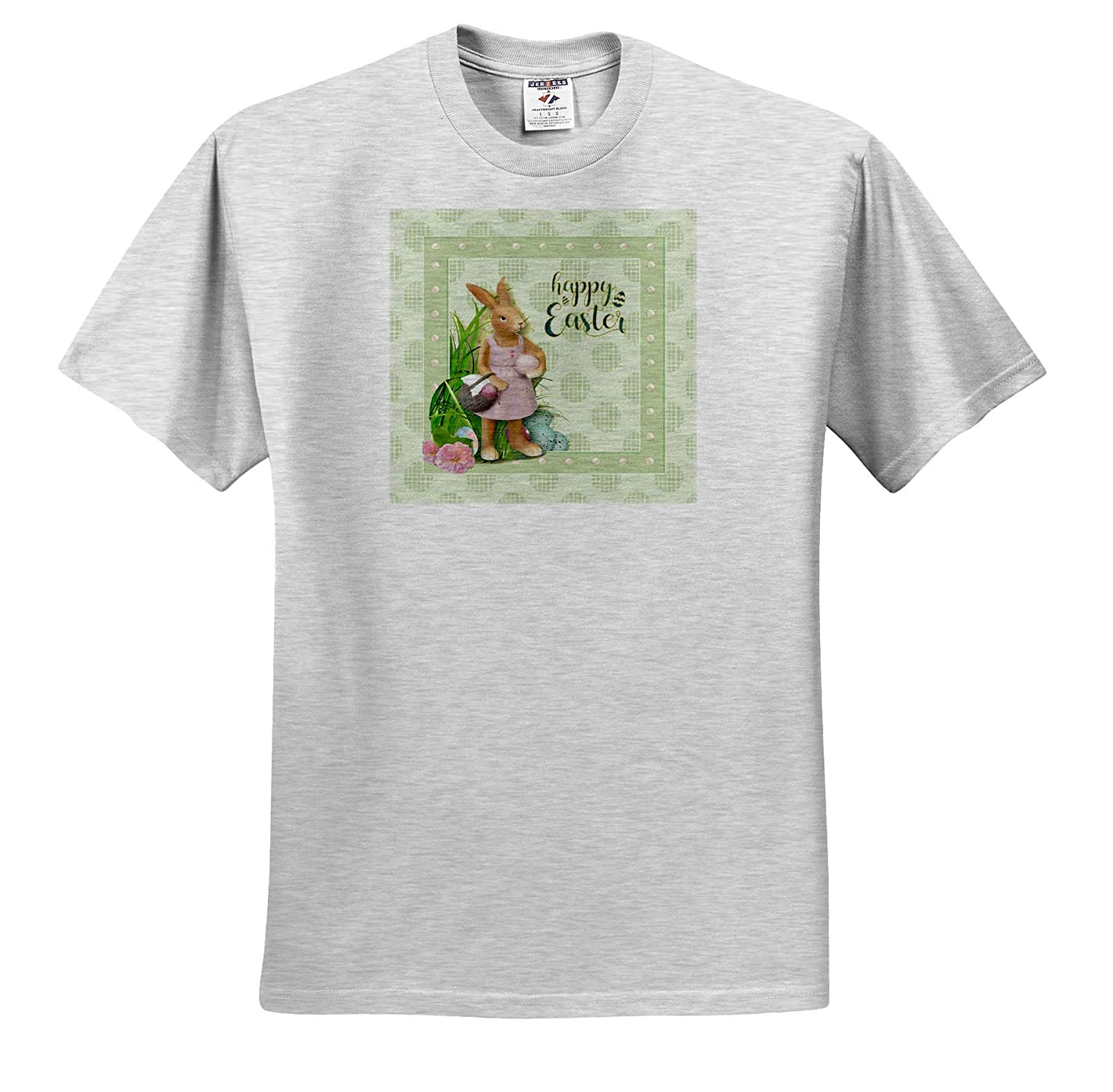 T-Shirts 3dRose Beverly Turner Easter Design and Photography Girl Rabbit in Pink Dress Basket of Eggs Happy Easter