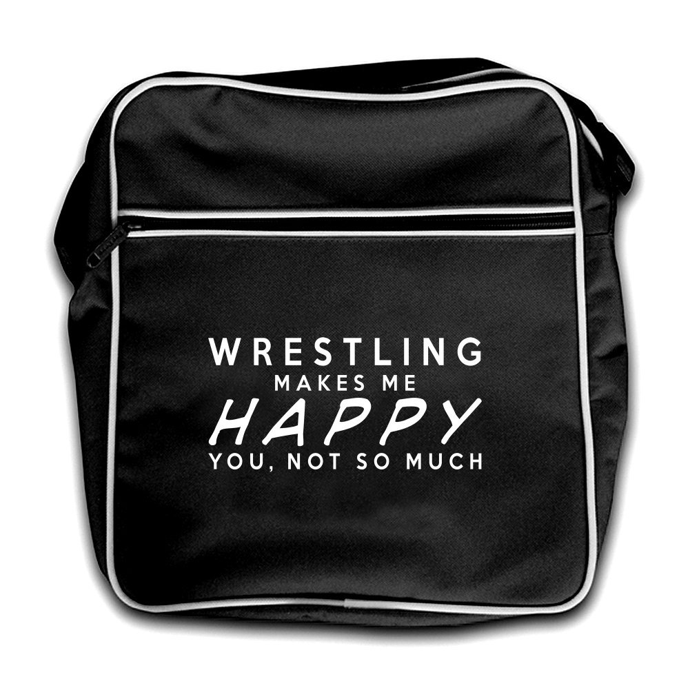 WRESTLING Makes Me Happy You, Not So Much - Retro Flight Bag - Black by Dressdown