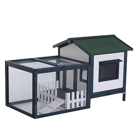 Cobertizo y jaula de madera con rampa para conejos, gallinas, etc. con cobertizo