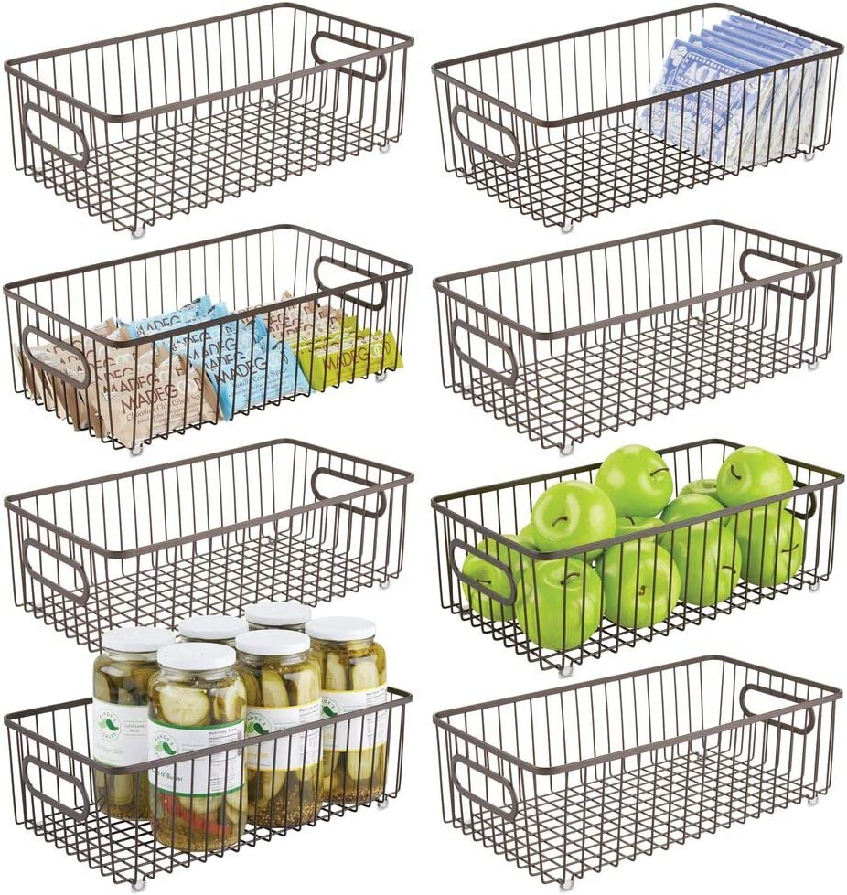 mDesign Metal Farmhouse Kitchen Pantry Food Storage Organizer Basket Bin - Wire Grid Design for Cabinets, Cupboards, Shelves, Countertops - Holds Potatoes, Onions, Fruit - Long, 8 Pack - Bronze