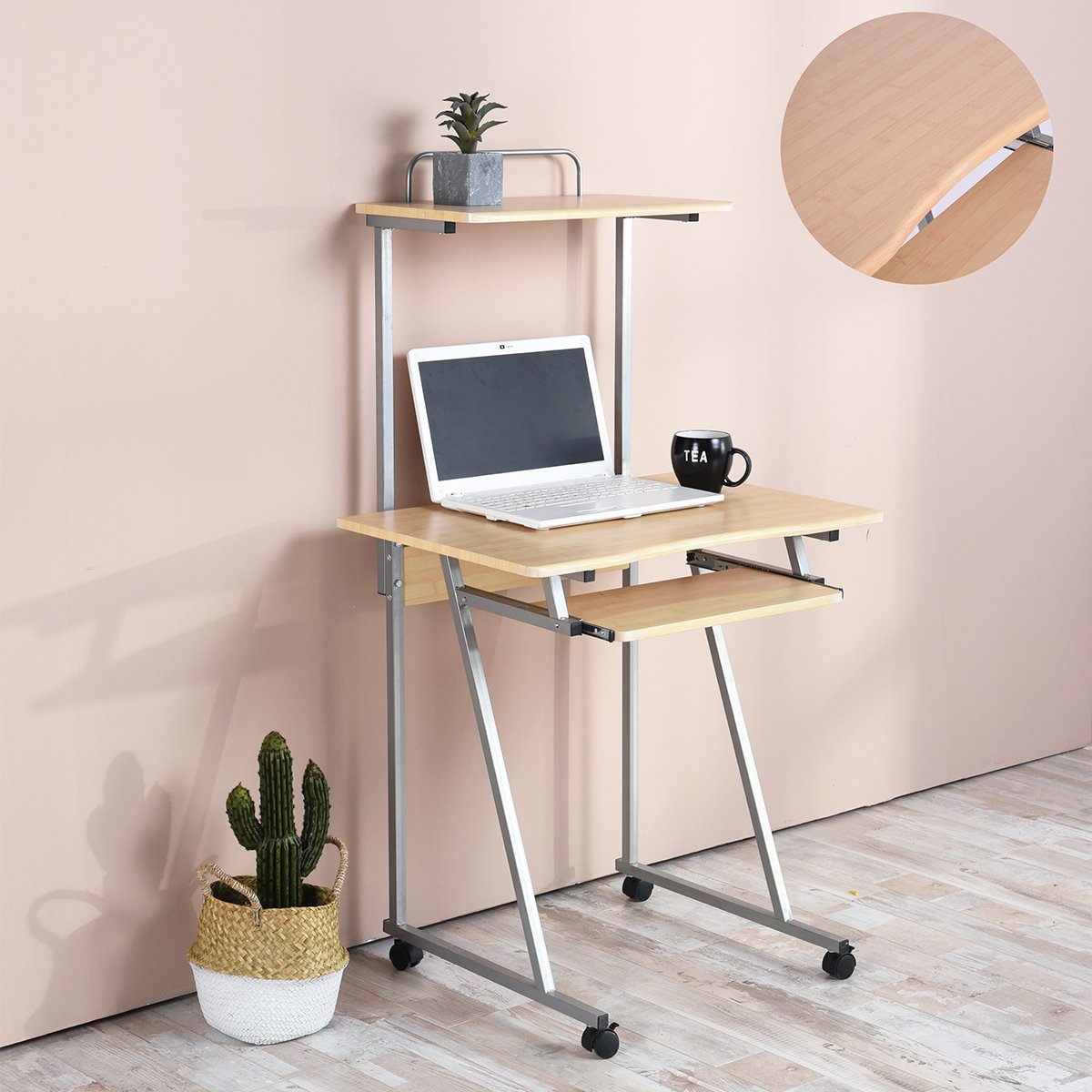 Aingoo Small Computer Desk Rolling Work Workstation With Printer Shelf and Keyboard, Beige