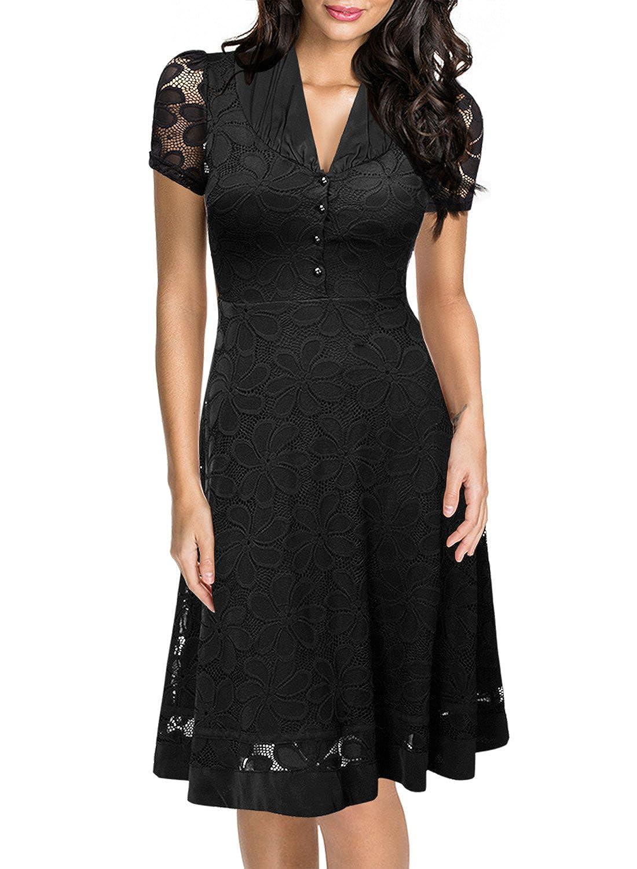 Miusol® Damen Elegant Sommerkleid V-Ausschnitt Kurzarm Business CocktailKleid Spitzen Party Kleid Schwarz EU 36-46