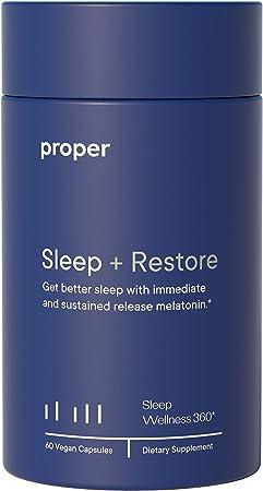 Proper Sleep + Restore - Natural Melatonin Sleep Aid and Healthy Sleep Solution for A Full Night of Restful Sleep - 60 Vegan Capsules, Non-GMO, Sugar-Free, Time Release
