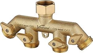 vouruna Premium Heavy Duty Brass 4 Way Garden Hose Splitter Improved, NPT3/4 Copper Four Outlet Faucet Diverter Valve, Outdoor Garden Manifold Adapter Connector (4-Way)