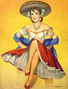 New Vintage Retro Metal Tin Sign Mexican Latino Pin Up Girl Home Kitchen Bar Bedroom Living Room Wall Decor Plaque Signs 12X8Inch