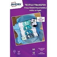 Avery UK Textile Transfer Paper voor lichte katoen, laserprinters, 1 afdrukbare stofoverdracht per A4-vel, 15 vellen per…