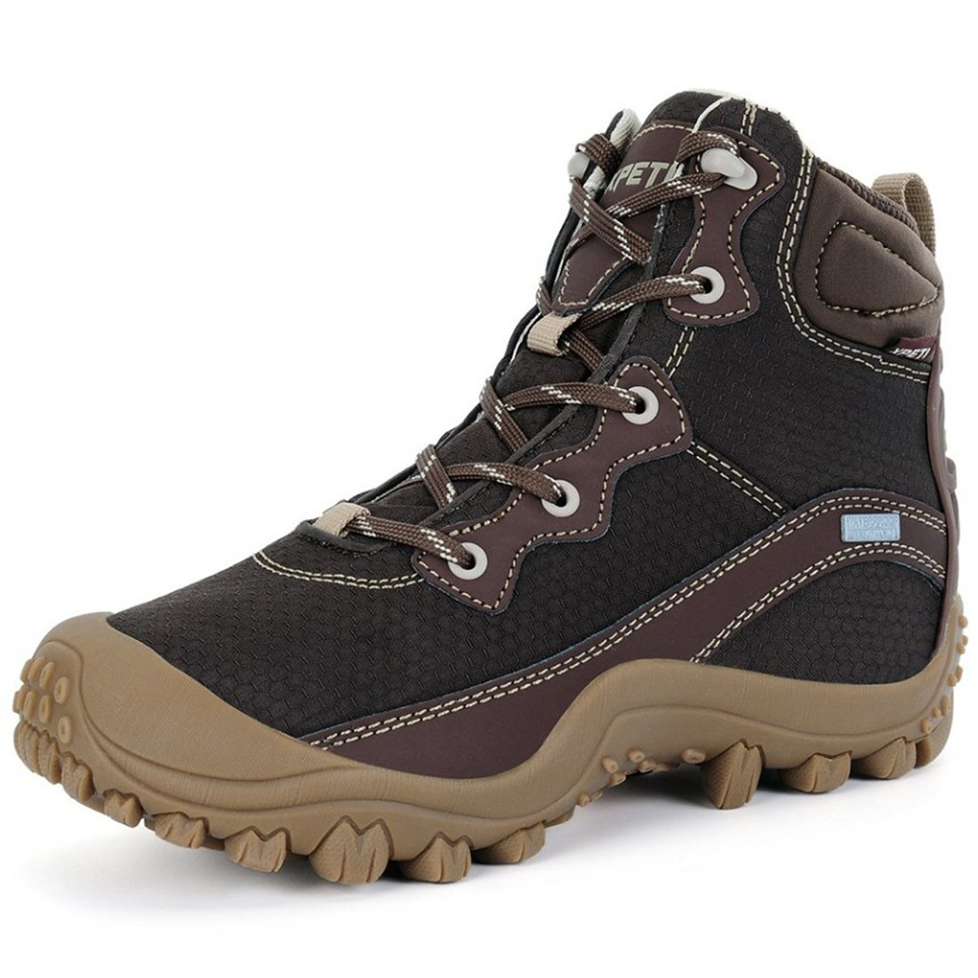 XPETI Women's Dimo Mid Waterproof Lightweight Hiking Trekking Walking Camping Trail Anti-Slip Outdoor Work Boot Coffee 6