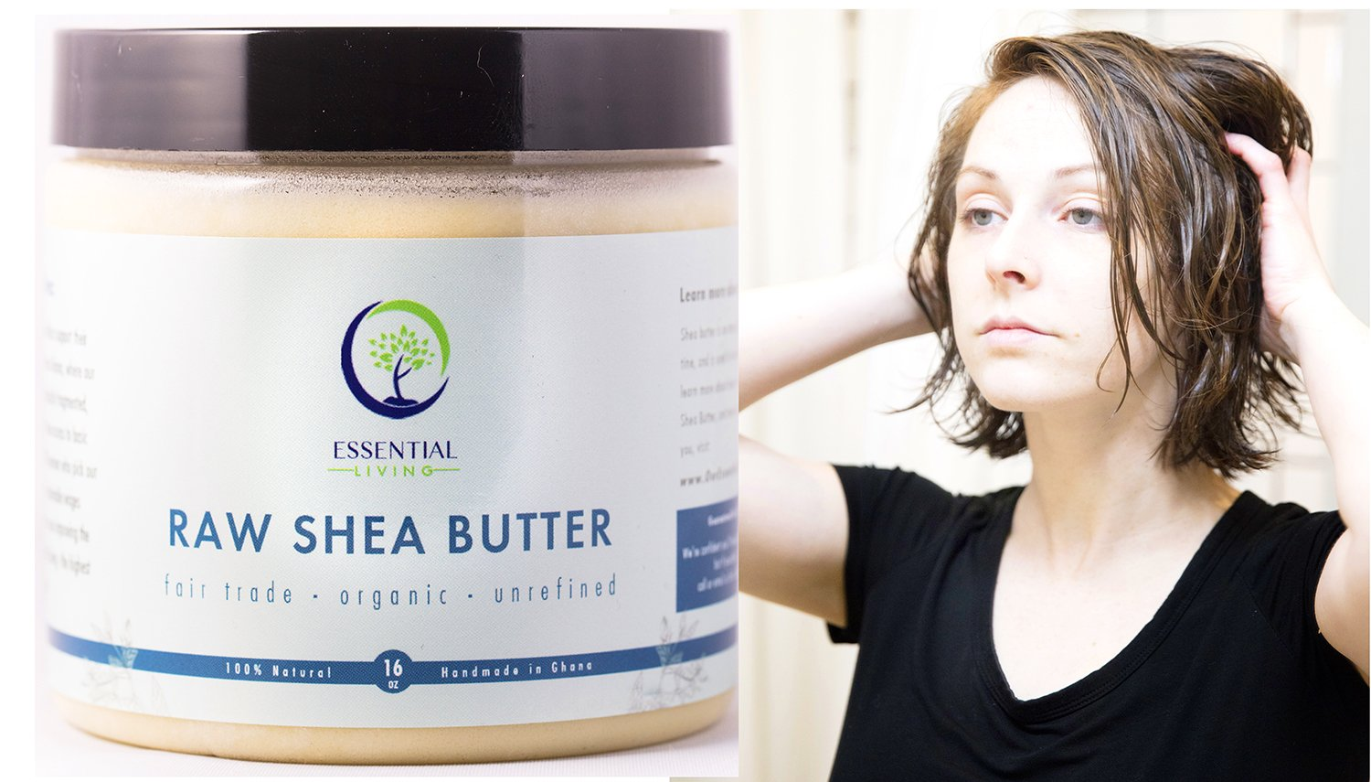 1 Pound Shea Butter: Raw - Organic, Unrefined, Fair Trade Shea Butter for Lotion, Soap, Body Wash, Hand Cream and Baby Eczema Moisture Therapy Essential Living